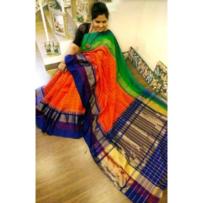 Ikkath Weaves Orange Silk Ganga-Jamuna bordered Ikkat Handloom Saree