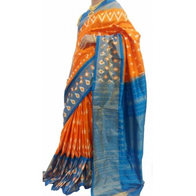 Ikkath Weaves Orange Silk Patola Ikkat Handloom Saree