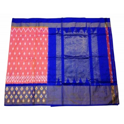 Ikkath Weaves Peach Silk Patola Ikkat Handloom Saree