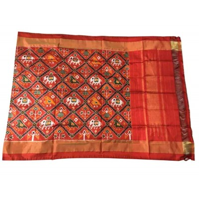 Ikkath Weaves Red Silk Printed Ikkat Handloom Duppatta