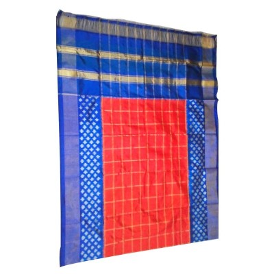 Ikkath Weaves Red Silk Checkered Ikkat Handloom Duppatta