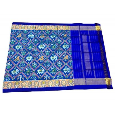 Ikkath Weaves Royal blue Silk Printed Ikkat Handloom Duppatta