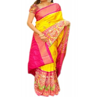 Ikkath Weaves Yellow Silk Ikkat Handloom Saree