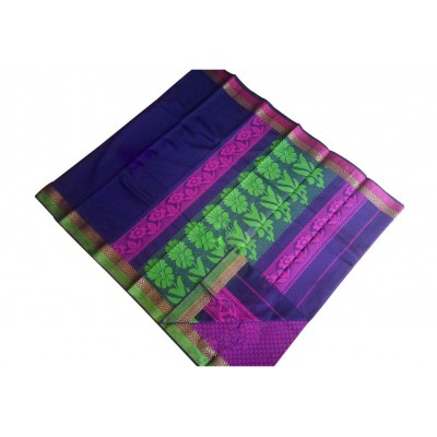 SB Navy Blue Kota Cotton Printed Saree