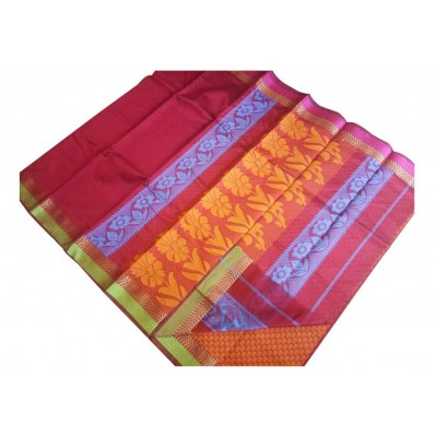 SB Red Kota Cotton Printed Saree