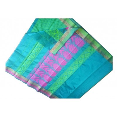 SB Sky Blue Kota Cotton Printed Saree