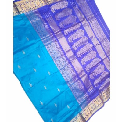 Tarangan Blue Silk Zari Worked Paithani Handloom Saree