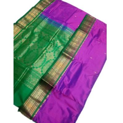 Tarangan Magenta Silk Zari Worked Paithani Handloom Saree