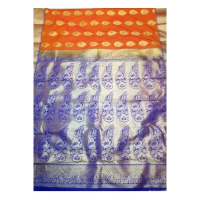 Tarangan Orange Silk Zari Worked Paithani Handloom Saree