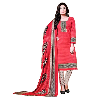 Rangoli Pink Synthetic Self Design Un-Stitched Dress Material