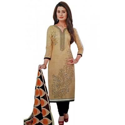 Rangoli Beige Cotton Printed Un-Stitched Dress Material