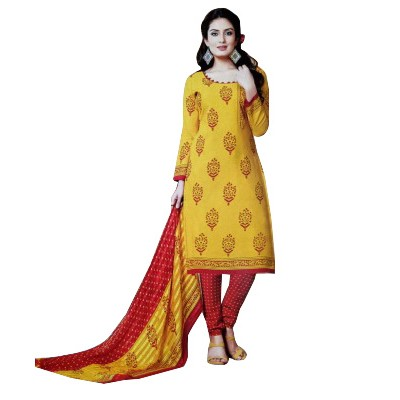 Rangoli Yellow Synthetic Self Design Un-Stitched Dress Material