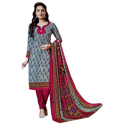 Rangoli Grey Synthetic Self Design Un-Stitched Dress Material