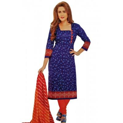 Rangoli Royal blue Cotton Printed Un-Stitched Dress Material