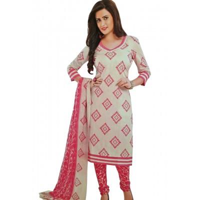 Rangoli Off White Cotton Printed Un-Stitched Dress Material