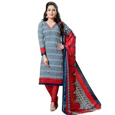 Rangoli Blue Synthetic Self Design Un-Stitched Dress Material
