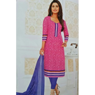 Rangoli Pink Cotton Printed Un-Stitched Dress Material