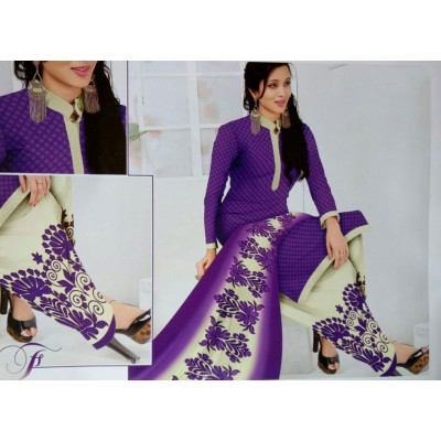 Rangoli Violet Synthetic Printed Un-Stitched Dress Material