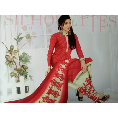 Rangoli Red Synthetic Printed Un-Stitched Dress Material