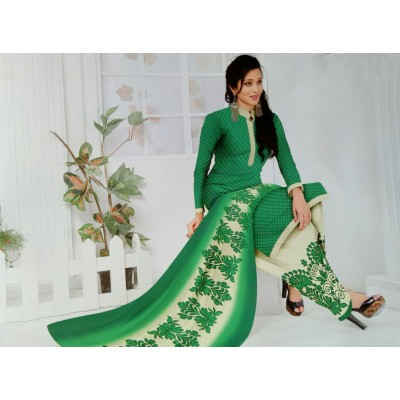 Rangoli Green Synthetic Printed Un-Stitched Dress Material