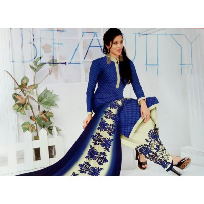 Rangoli Dark Blue Synthetic Printed Un-Stitched Dress Material