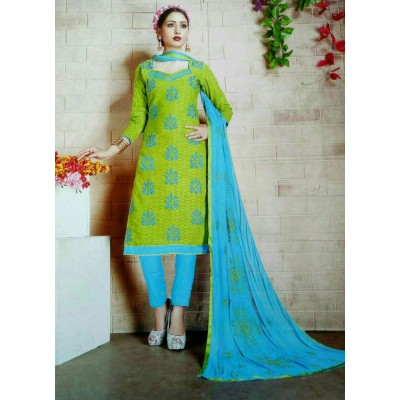 Rangoli Green Cotton Embroidered Un-Stitched Dress Material