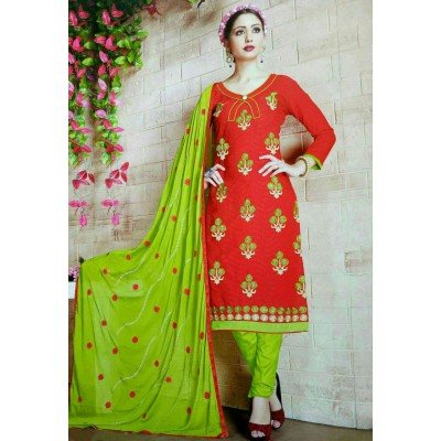 Rangoli Red Cotton Embroidered Un-Stitched Dress Material