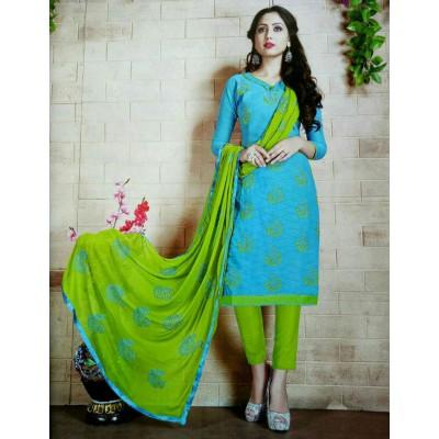 Rangoli Blue Cotton Embroidered Un-Stitched Dress Material