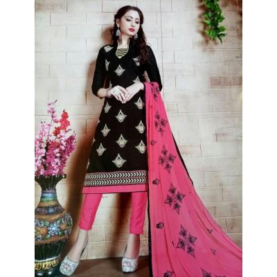 Rangoli Black Cotton Embroidered Un-Stitched Dress Material