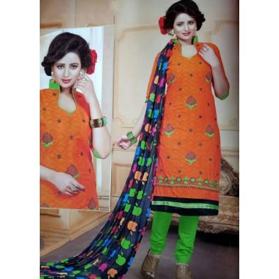 Rangoli Orange Cotton Embroidered Un-Stitched Dress Material