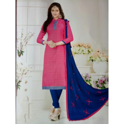Rangoli Pink Cotton Self Design Un-Stitched Dress Material