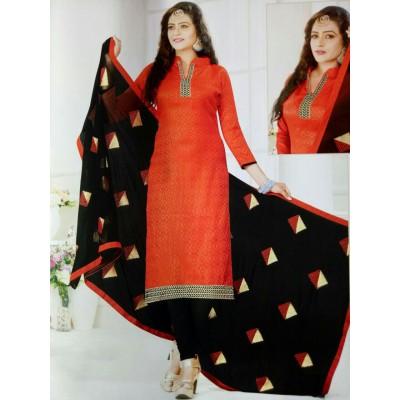 Rangoli Orange Cotton Solid Un-Stitched Dress Material