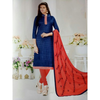 Rangoli Blue Cotton Self Design Un-Stitched Dress Material