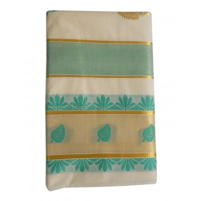 Tharakasree 2099 Cream Cotton Jacquard designed Devangapuram Handloom Saree