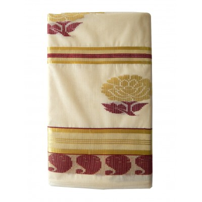 Tharakasree 2096 Cream Cotton Jacquard designed Devangapuram Handloom Saree