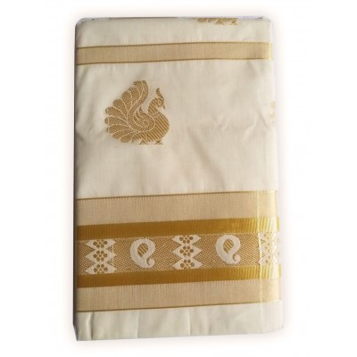 Tharakasree 2091 Cream Cotton Jacquard designed Devangapuram Puttal Handloom Saree