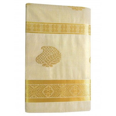Tharakasree 2059 Light Gold Tissue Jacquard designed Devangapuram Puttal Handloom Saree