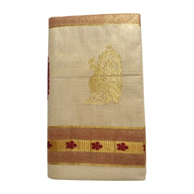 Tharakasree 2137 Light Gold Tissue Jacquard designed Devangapuram Handloom Saree