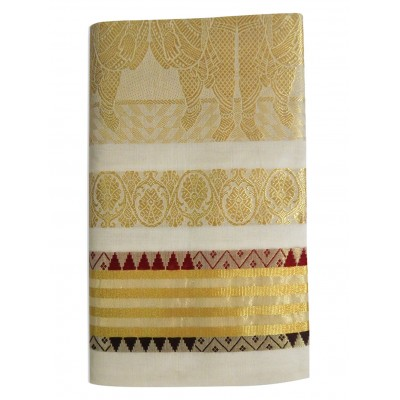 Tharakasree 2022 Light Gold Tissue Jacquard designed Devangapuram Handloom Saree