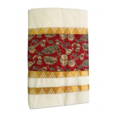 Tharakasree 7041 Cream Cotton Kalamkari Printed Devangapuram Handloom Saree