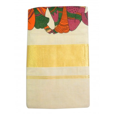 Tharakasree Cream Cotton Hand Printed Devangapuram Handloom Saree