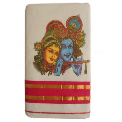 Tharakasree 2141 Cream Kerala Kasavu Cotton Radha Krishna Printed Devangapuram Handloom Saree