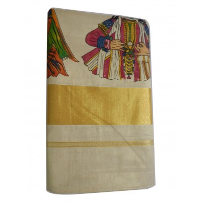 Tharakasree Light Gold Tissue Mural Painted Devangapuram Handloom Saree