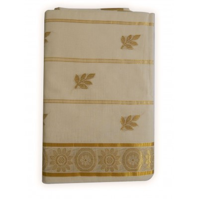 Tharakasree 2138 Cream Cotton Jacquard designed Devangapuram Handloom Saree