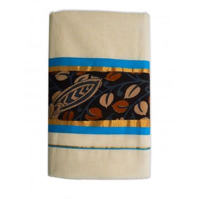 Tharakasree 7039 Cream Cotton Kalamkari Printed Devangapuram Handloom Saree