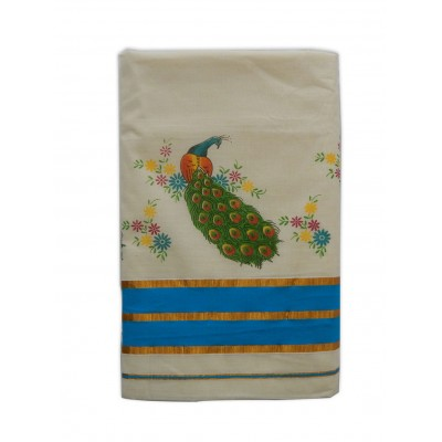 Tharakasree 2141 Cream Cotton Peacock Designed Devangapuram Handloom Saree