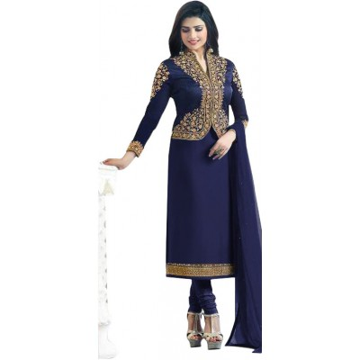 Ugrowth Collection Navy Blue Sartin Georgette Embroidered Un-Stitched Dress Material