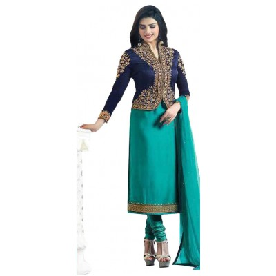 Ugrowth Collection Sea Blue Sartin Georgette Embroidered Un-Stitched Dress Material