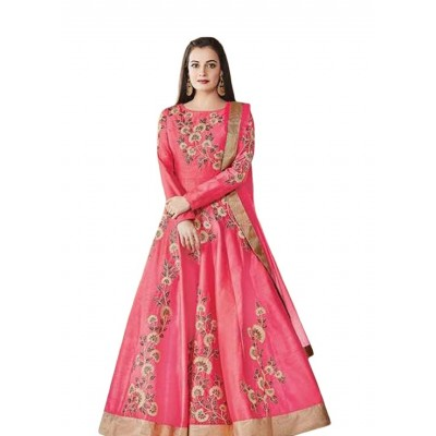 Ugrowth Collection Pink Banglori Silk Embroidered Un-Stitched Dress Material