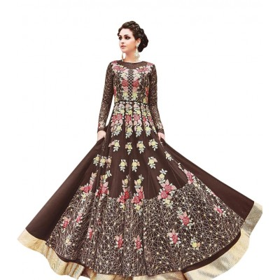 Ugrowth Collection Brown Net Embroidered Un-Stitched Dress Material